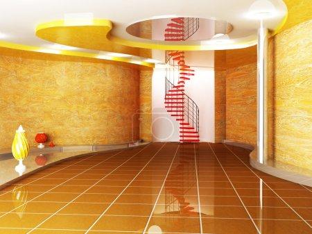 Foto de Espacio creativo en colores cálidos con los floreros y la escalera - Imagen libre de derechos