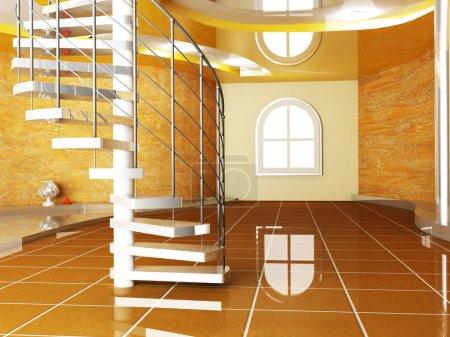 Foto de Escena de diseño de interiores con una ventana y una escalera - Imagen libre de derechos