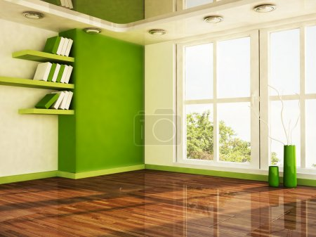 Interior design scene with a big window,