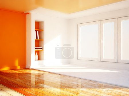 Photo for Bookshelves in the niche, a big window, rendering - Royalty Free Image