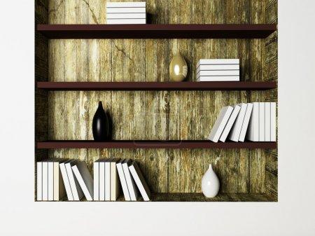 Les vases et les livres sur les étagères