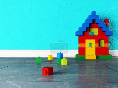 Photo pour Maison construite avec un constructeur, rendu - image libre de droit