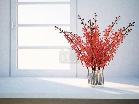 Photo pour Un vase avec les fleurs près de la fenêtre - image libre de droit