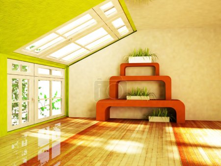 Room with green plants