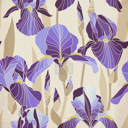 Illustration for Seamless pattern with decorative lilac iris flower retro colors. Vintage vector background. - Royalty Free Image