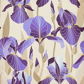 Decorative lilac iris flower retro colors