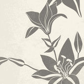 Vintage background with decorative lily flowers