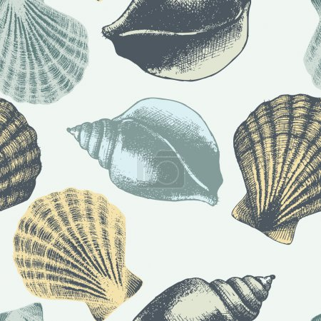 Hand drawn seamless pattern with sea shell in pastel colors.