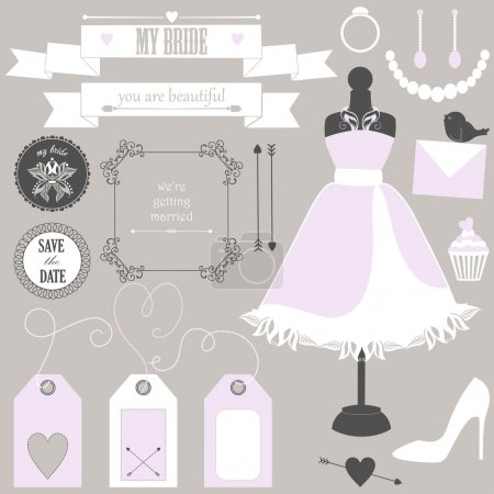 Wedding elements and signs for bride.