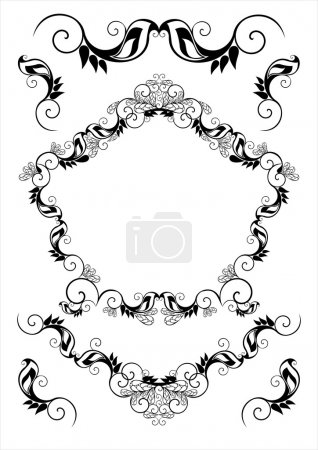 Set of vector frames and ornaments with sample text for invitation or announcement