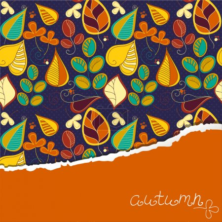 Illustration for Seamless pattern with autumn leaf and place for your text. Decorative Leaf on dark background - Royalty Free Image