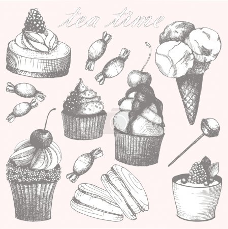 Vector collection of hand drawn sweet cupcakes and candies. Vintage illustrations