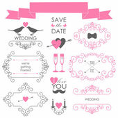 Decorative set of artistic wedding elements and signs in retro colors Vector illustration