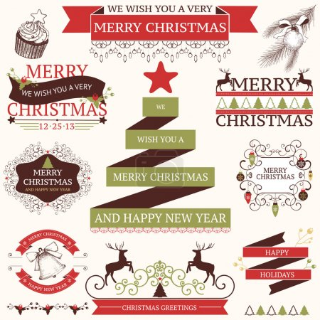 Illustration for Vector collection of graphic elements for Christmas and New year's design in retro colors - Royalty Free Image