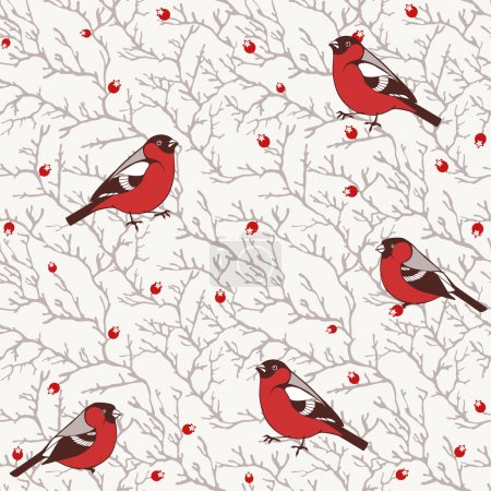 Winter seamless pattern with bullfinch birds on tree branches with red berries