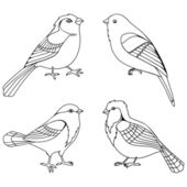Vector set of decorative birds silhouettes