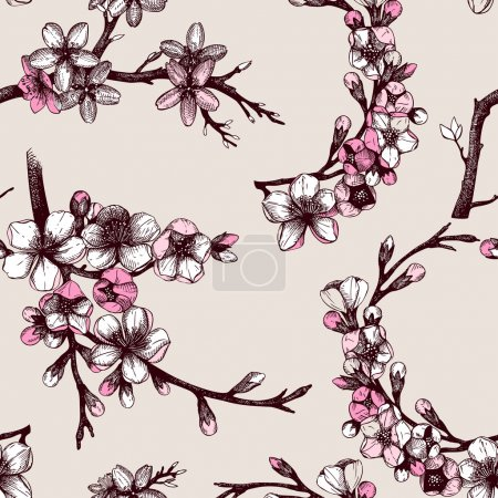 Illustration for Seamless pattern with hand drawn blooming fruit tree twig. Vector vintage spring background - Royalty Free Image