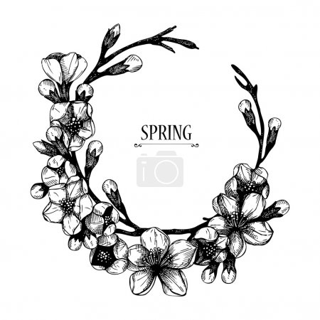 Illustration for Vector spring frame for your card or invitation with hand drawn blooming fruit tree twig illustration. Isolated on white - Royalty Free Image