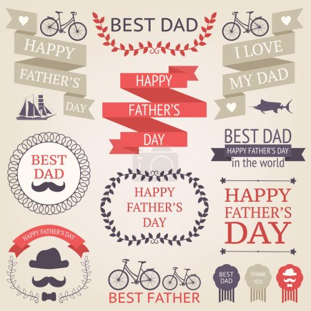 Illustration for Vector collection of Happy fathers day vintage design elements and decoration - Royalty Free Image