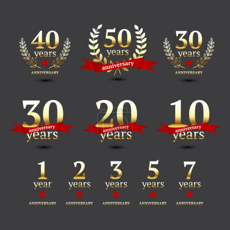 Illustration for Set of anniversary golden signs, Vector illustration. - Royalty Free Image