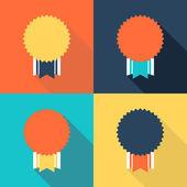 Vector illustration of flat design medals on color background