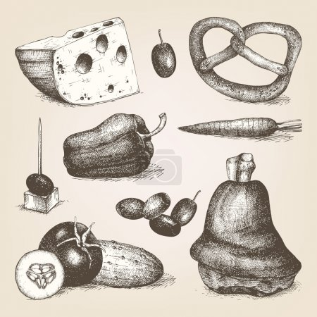 Hand drawn different food
