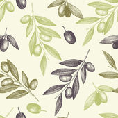 Seamless vector pattern with ink hand drawn olive tree twigs Vintage olive background