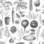 Vector collection of black ink hand drawn vegetabl...