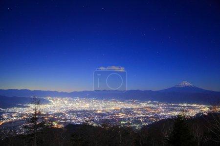 Night view of Kofu city and Mt. Fuji