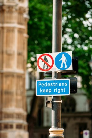 Pedestrian keep right sign