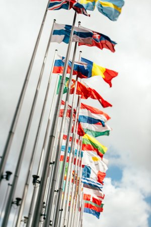 Photo for European country flags in Brussels on European commission site - European Union Parliament, tilt shift focus - Royalty Free Image