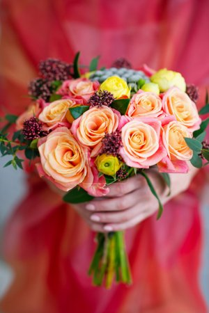 Photo for Closeup woman hands holding beautiful flower bouquet - Royalty Free Image