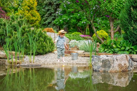 Kid fishing in the pond