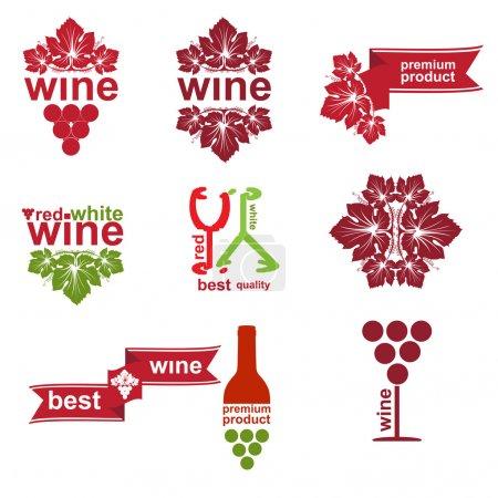 Illustration pour Ensemble d'étiquettes d'éléments de vin vintage et moderne pour le restaurant et la vente - image libre de droit