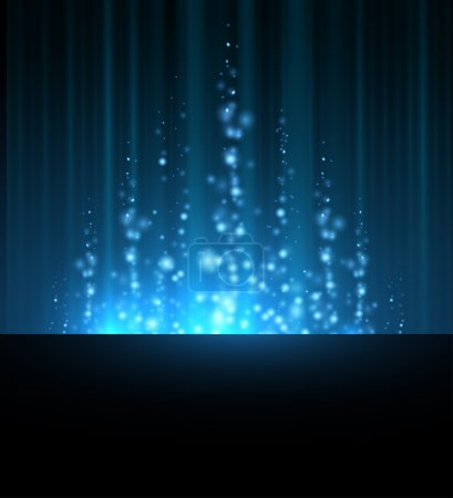 Illustration for Abstract blue north shining star blurred lines background. dark sky - Royalty Free Image