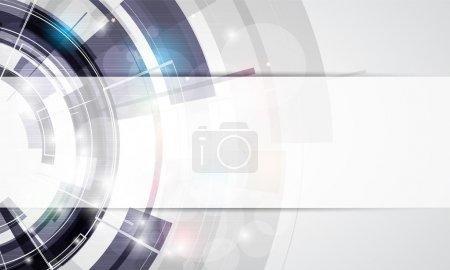 Illustration pour Abstrait ronde gris technologie entreprise bannière arrière-plan - image libre de droit