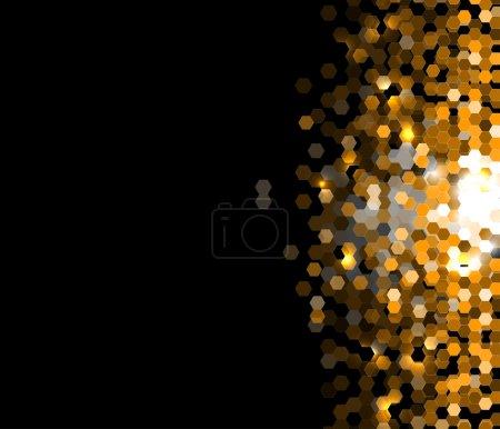 abstract dark gold hexagon technology information background