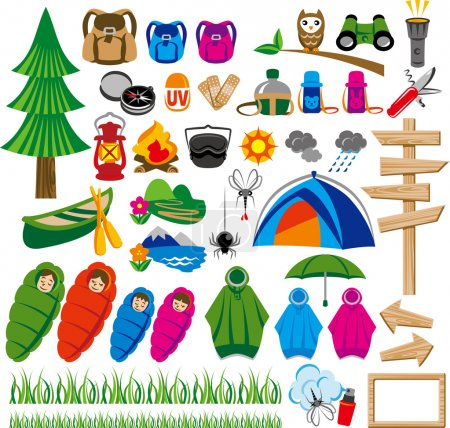 Illustration for Icon of outdoor and the camping - Royalty Free Image