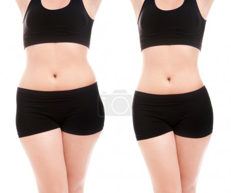 Slim woman's body isolated over white background
