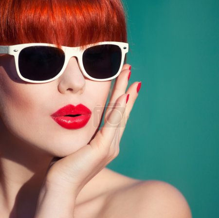 Photo for Colorful summer portrait of an attractive young woman with sunglasses - Royalty Free Image