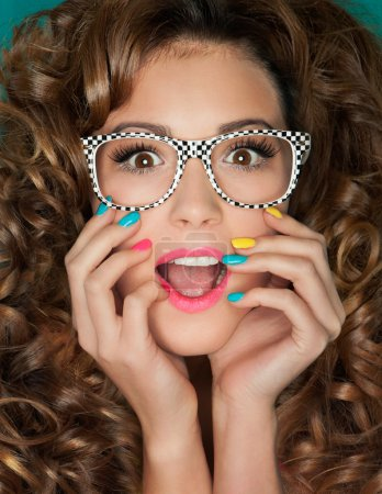 Photo for Young attractive surprised woman wearing glasses - Royalty Free Image