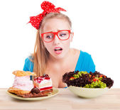 Choice between junk and healthy food