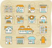 European houses buildingsstore travel icons