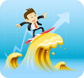 Businessman surfing
