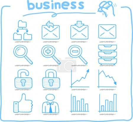 Hand drawn internet,business icon set
