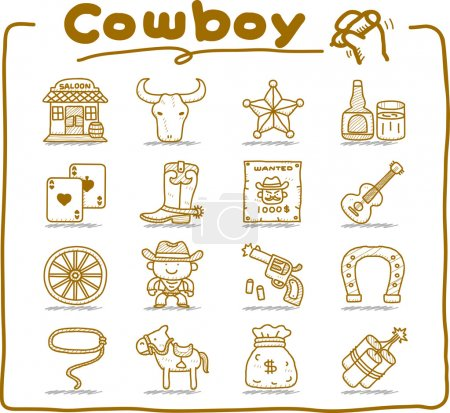 Illustration for Pure series,hand drawn wild west,cowboy icon set.doodle  format. - Royalty Free Image