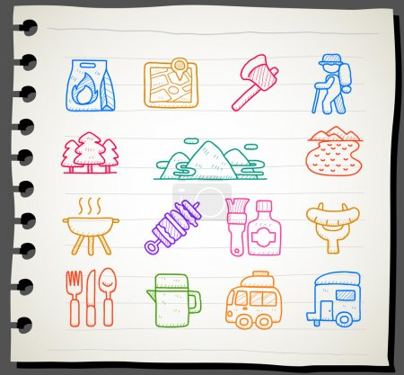 Illustration for Sketch book Series,travel,picnic ,camping icon set - Royalty Free Image