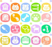 Pet animals and objects icon set