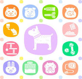 Animals and objects icon set