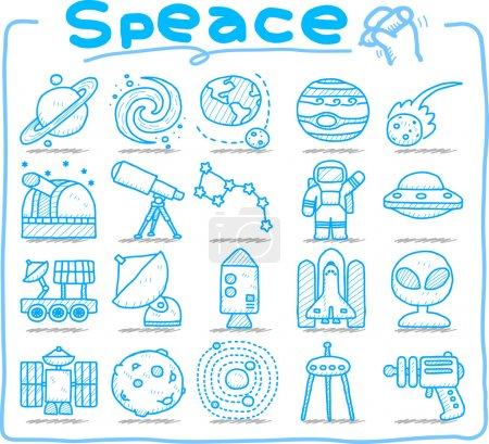 Hand draw Universe ,space icon set.